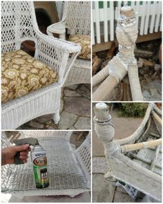 repairing my old  wicker chairs using vinyl spray paint