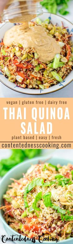 This Thai Quinoa Salad is super easy to make and naturally vegan, gluten free. I… This Thai Quinoa Salad is super easy to make and naturally vegan, gluten free. It is all covered with the most delicious dressing you can… Continue Reading → Vegetarian Recipes, Cooking Recipes, Healthy Recipes, Lactose Free Diet, Gluten Free, Quinoa Salat, Quinoa Vegan, Thai Vegan, Quick Family Meals