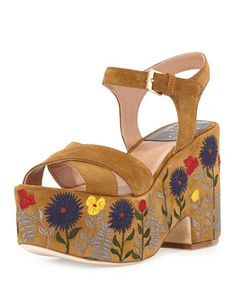 """Laurence Dacade embroidered suede sandal. 3"""" covered heel; 2"""" platform; 1"""" equiv. Crisscross straps band open toe. Adjustable ankle straps. Padded footbed. Smooth outsole. """"Helissa"""" is made in Italy."""