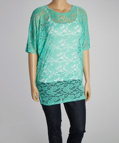 Take a look at this Mint Sheer Lace Cape Sleeve Top - Plus on zulily today!