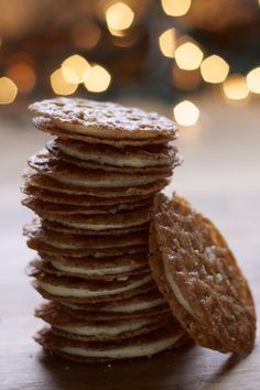 Florentine Cookie Sandwiches with Eggnog Icing