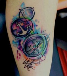 Watercolor compass