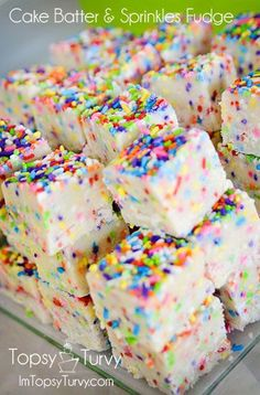 Cake Batter and Sprinkles Fudge - 2 C   2 Tbsp cake mix, 2 C powdered sugar,   1/2 C (1 stick) butter, cut into 4 pieces,   1/4 C milk, 2/3 C white chocolate chips, 1/2 C sprinkles.