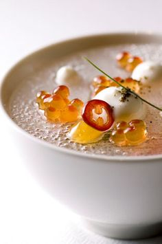 King Crab, Cucumber, Steelhead Roe, and Kalamansi by Chef Curtis Duffy of Avenues - Chicago, IL