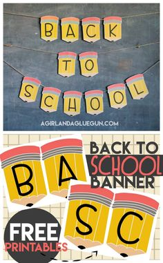 Back to school banner printables - A girl and a glue gun school backtoschool freeprintables pencils diy crafty 217369119500208512 Back To School Party, Welcome Back To School, Back To School Teacher, Back 2 School, 1st Day Of School, School Classroom, Back To School Crafts For Kids, Welcome Back Banner, Classroom Banner