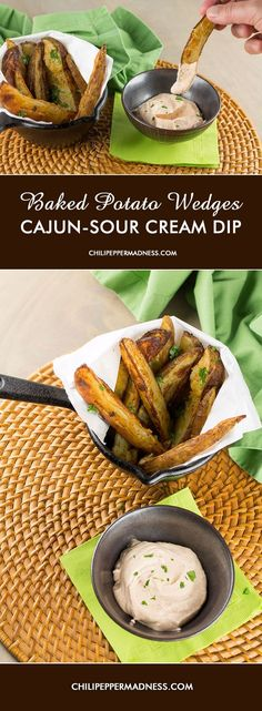 Baked Potato Wedges with Cajun-Sour Cream Sauce from Chili Pepper Madness