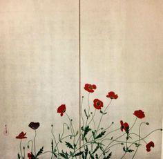 虞美人草図屏風 酒井抱一. Poppy. two panel Japanese folding screen. Sakai Hoitsu. Nineteenth century.