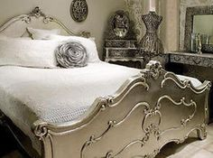 ANTIQUE SILVER FRENCH ORNATE ROCOCO DOUBLE BED (4ft6).View/Collect/Delivery