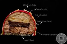 This coffee banana entremet is a pastry masterpiece with its banana and coffee layers, all encased in a silky chocolate mousse. Gourmet Desserts, Fancy Desserts, Gourmet Recipes, Delicious Desserts, Coffee Creme Brulee, Entremet Recipe, Banana Coffee, Layered Desserts, Banana Dessert