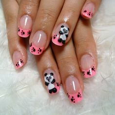 Uñas Crazy Nail Art, Crazy Nails, New Nail Art, Panda Nail Art, Animal Nail Art, Nail Polish Designs, Cool Nail Designs, Cute Nails, Pretty Nails