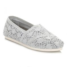 Womens Silver Crochet Metallic Classic Espadrilles ($36) ❤ liked on Polyvore featuring shoes, sandals, silver espadrilles, crochet sandals, toms shoes, espadrille sandals and espadrille shoes
