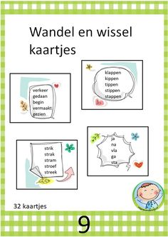 Wandel en wisselkaartjes. Goed te gebruiken bij kern 9 VLL My Teacher, Primary School, Kids Education, School Projects, Spelling, Classroom, Study, Letters, Teaching