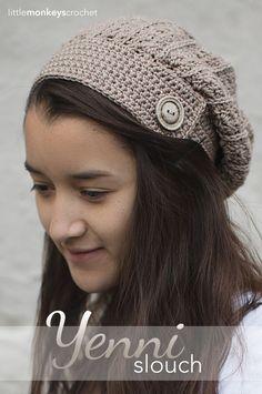 Beautiful !!! Yenni Slouch Crochet Hat | Free Slouchy Hat Crochet Pattern by Little Monkeys Crochet