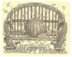 "{Single Count} Unique & Custom (4 1/4"" by 3 1/2"" Inches) ""Happy Fall Banner Text & Cottage Porch Bench With Pumpkin"" Rectangle Shaped Genuine Wood Mounted Rubber Inking Stamp"