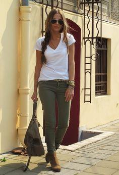 White V, Olive Skinnies, Tan Booties Olive Skinnies, Olive Jeans, Casual Fall Outfits, Classy Outfits, Cute Outfits, Winter Outfits, Military Fashion, Fashion Boutique, Passion For Fashion