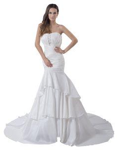 Herafa Strapless Mermaid Wedding Dress Chapel Train Ruched & Delicate Beading $289.90