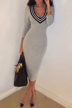 Plunging Neck Stripes Bodycon Dress GRAY: Bodycon Dresses | ZAFUL