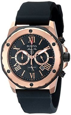Mens Bulova Marine Star Watch in Rose Gold Tone Stainless Steel with Black Rubber Strap Fine Watches, Sport Watches, Cool Watches, Watches For Men, Bulova Marine Star, Men's Accessories, Bulova Mens Watches, Hublot Watches, Men's Watches