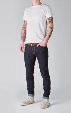 Nudie Jeans Skinny Lin Dry Deep Orange 11.5oz