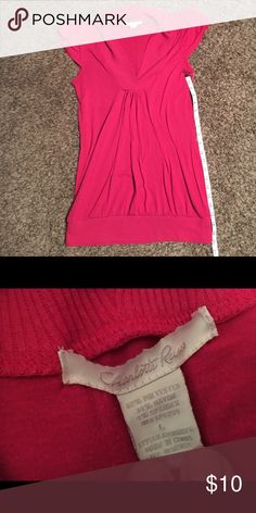 Cute! LONG Charlotte Russe shirt size L Longer length Charlotte Russe shirt size L. Pink in color with banded bottom. Smoke free😉. Charlotte Russe Tops Blouses