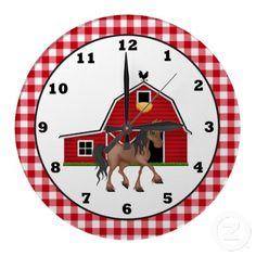 Country Horse Cartoon wall clock