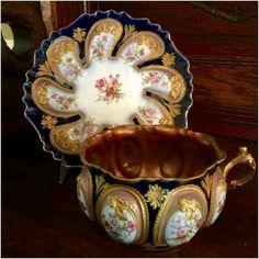 Šálek na čaj * modrý zlacený porcelán bohatě zdobený ♥