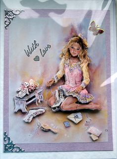 Ice Princess  HandCrafted 3D Decoupage Card  With by SunnyCrystals #decoupage #card #iceskating #princess #lilac #pink #birthday #skating