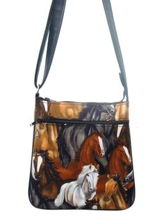 US HANDMADE FASHION HORSE ANIMAL WESTERN Pattern Cross Over body Shoulder bag Style Handbag Purse cotton fabric, CSOP 5009