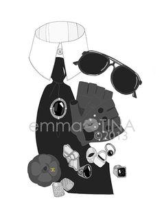 Karl Lagerfeld What's in my Bag Portrait... by emmakisstina, kr80.00