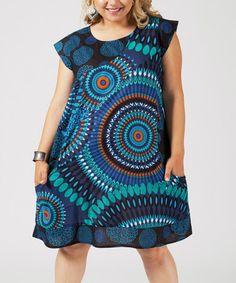 Turquoise & Orange Medallion Pocket Cap-Sleeve Dress - Plus #zulily #zulilyfinds