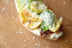 Grilled Cheese Social: The Bacon Jammy - fresh ricotta, bacon jam, brussels sprouts and parmesan on focaccia!