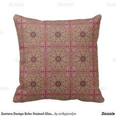 Eastern Design Boho Stained Glass Spyrograph Tile Pillows