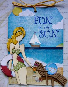 Fun in the Sun-at the beach Prima doll- even has a drink in her hand!