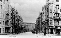 Historische Ansicht der Mommsenstraße © Museum Charlottenburg-Wilmersdorf in der Villa Oppenheim. Postkarte um 1910