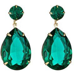 Roberta Chiarella Green Crystal Teardrop Earrings found on Polyvore