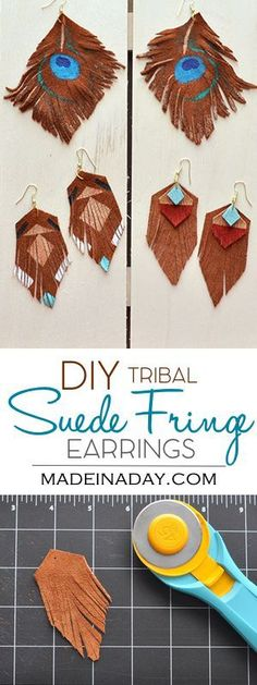 DIY Suede Fringe Earrings, matching earrings to my Suede Fringe necklaces, tribal earrings, southwestern jewelry, suede jewelry, geometric jewelry, easy craft, tribal necklace, how to make earrings. Tutorial on http://madeinaday.com