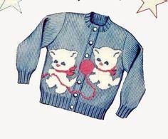 Girls Cardigan Sweater Knitting PATTERNS Kittens Knit O Graf 925 Photocopy #KnitOGraf925