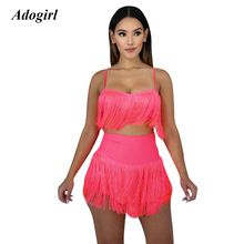 0b044928ed Adogirl Sexy Sleeveless Solid Tassel Two Piece Set Casual O Neck Crop Top  With Mini Skirt