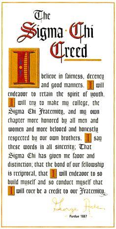 The Sigma Chi Creed