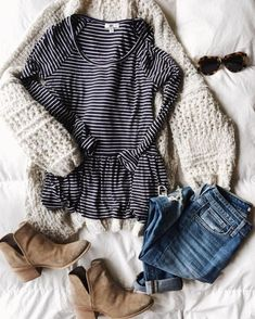 chunky sweater, black and white striped tee, distressed jeans, booties