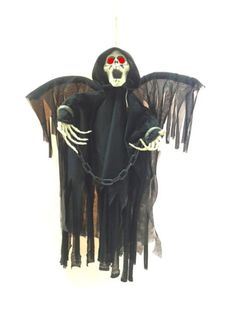 prextex animated skeleton ghost halloween decoration with glowing red eyes - Animated Halloween Decorations