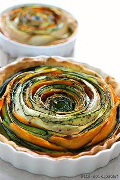 Courgette and carrot flower tart (sounds so much posher in French)