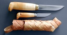 Double Set in Woven Birch Bark Sheath