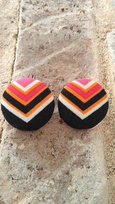 Black Pink Orange and White Chevron Fabric Button by LaVieBelle, $5.00