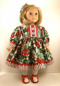 American Girl Doll 18 Inch Dolls Christmas Long Sleeved Dress Matching Hair Bow. $22.00, via Etsy.