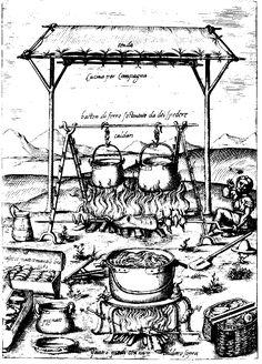 Field kitchen (note the four different spits in this carving) - from Il Cuoco Segreto Di Papa Pio V (The Private Chef of Pope Pius V), by Bartolomeo Scappi, Venice, 1570.