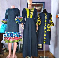 Last Ankara Jean Combo Styles For Ladies. Nigerian clothing designers never stop experimenting with African Maxi Dresses, African Fashion Ankara, African Print Fashion, African Attire, Ankara Gowns, Nigerian Outfits, Nigerian Clothing, African Print Dress Designs, Ankara Designs