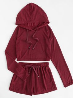 Drop Shoulder Drawstring Top With Shorts Spring Summer Fall Women Burgundy Long Sleeve Plain Casual Two Piece Set Burgundy L Drop Shoulder Drawstring Top Mit Shorts Frühling Sommer Herbst Frauen Burgund Langarm Plain Casual Zweiteiler Burgund L Cute Lazy Outfits, Kids Outfits Girls, Teen Fashion Outfits, Sport Outfits, Trendy Outfits, Girl Outfits, Summer Outfits, Pantalon Long, Cute Sleepwear