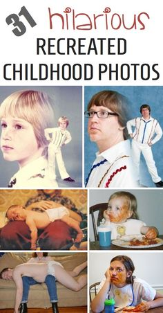 The funniest recreated childhood photos! How fun would it be to recreate some of those old childhood photos; a photo of you then and now — same pose, same outfit, similar setting; side by side for comparison.