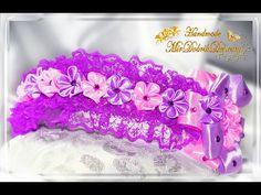 ????ОБОДОК КАНЗАШИ с кружевом, цветами и бантиком   DIY Kanzashi headband